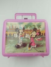 Vintage Mickey Mouse And Minnie Aladdin Pink Lunch Box Thermos 1990s