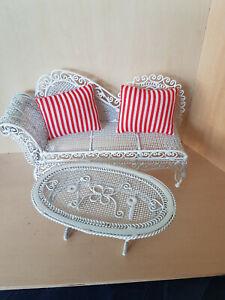 Garten Sofa mit Tisch Nostalgie Metall Draht Puppenstube -haus 1:12 weiß