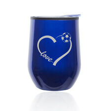 Stemless Wine Tumbler Coffee Travel Mug Glass Cup w/ Lid Love Heart Soccer