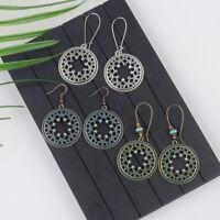 Vintage Bohemian Bronze Retro Flower Hook Dangle Women Ethnic Stud Chic Earrings