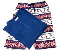 Women Christmas PJ's Lanz Holiday Reindeer 2 Pc Pant Set Large Navy/Red/Ivory