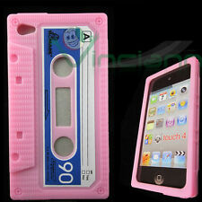 Custodia CASSETTA silicone ROSA per iPod Touch 4 4G stile retrò tape morbida