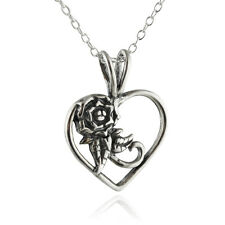 Heart with Rose Necklace - 925 Sterling Silver Pendant Love Wife Girlfriend NEW