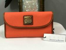 NWT DOONEY & BOURKE Pebble Leather Continental Checkbook Wallet in Coral