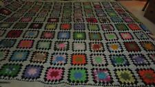 EXCELLENT LARGE HEAVY HANDMADE CROCHET AFGHAN GRANNY SQUARE MULTI-COLOR 60X95