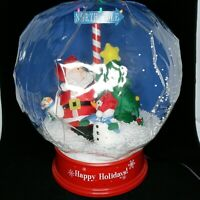 "Gemmy Inflatable Tabletop Snow Globe 17"" Santa Snowmen Christmas North Pole"