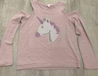 me. n. u Girls Top Sz 8 Pink Long Sleeve Cold Shoulder Unicorn Sparkle  MA53