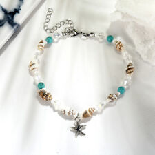 Women Beach Conch Starfish Turquoise Beads Pendant Chain Anklet Bracelet Anklet