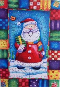 Patchwork Santa Standard House Flag by Evergreen, Colorfast , #3735