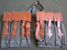 WW2 German MP44 STG44 Ammo Mag Pouch Pair Canvas & Leather Top