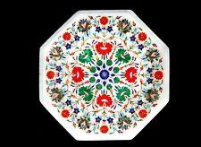 "15"" marble inlay lapis floral Table Top semi precious stones handmade work"