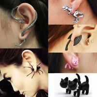 1x Punk Vintage Retro Fashion Snake Cat Dragon Cuff Wrap Clip Ear Stud Earrings