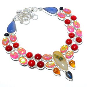 """Triplet Fire Opal & Red Coral 925 Sterling Silver Jewelry Necklace 17.99"""" M1554"""