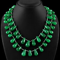 675.00 CTS EARTH MINED RICH GREEN EMERALD 2 STRAND PEAR SHAPED BEADS NECKLACE