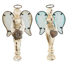 SET - Angels w. Glass Handpainted Wings Decor/Ornament - Flower and Heart