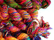 1 Skein -100 Grams Recycled Sari Silk Yarn Soft Pure Yarn Knit Woven