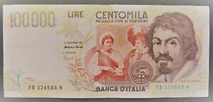 BANCONOTA da 100000 LIRE CARAVAGGIO 2° tipo Fazio/Speziali 1995 - (4623)