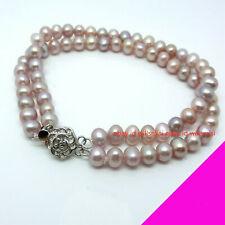 Bracelet 2 Rows Bracelet Bangle 7.5'' Hot New 7-8mm Fashion Natural Purple Pearl