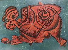 Fifties Gemälde rotes Urtier nierenförmig abstrakt Franz Delling Rosenheim 1950