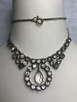 1930s Bib Dropper Necklace 1940s Paste Glass Cabochons Jewellery Jewelry Vintage