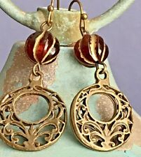 Dangle Earrings. Boho Chic Amber and Etched Bronze