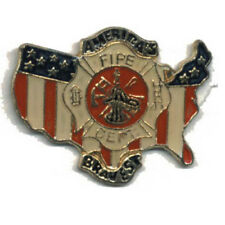 Wholesale Lot of 12 Fire Department Usa Flag Shield Lapel Hat Pins Fast Usa Ship