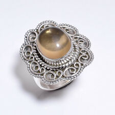 925 Solid Sterling Silver Ring Size US 6, Citrine Handcrafted Jewelry CR3051
