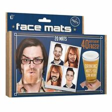 20 x Facematt Funny Face Faces Beer Mat Coaster Face Mats Party Drinking