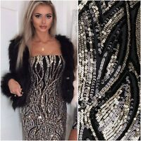Black Gold Sequin Bardot Bodycon Evening Xmas Party Pencil Mini Dress £75 ❤️