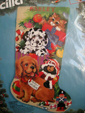 "Bucilla Needlepoint Stocking Kit,CHRISTMAS CURIOSITY,Dog,Cat,Gillum,18"",60731"