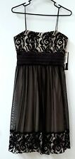 S.L. Fashions Dress Tan Black Lace & Mesh Overlay Satin Waist Bow Size 6 NWT