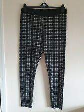 Ladies Black And White Check Elasticated Waist Jeggings From Yours Size 22