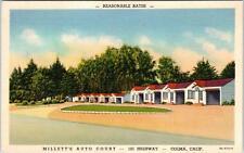 COLMA, CA California    MILLETT'S AUTO COURT Hwy 101  c40s Roadside  Postcard