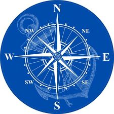 Blue Nautical Rose Compass Waterproof Vinyl Boat Car Van Wall Sticker Decal LSC3