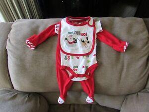 OKIE-DOKIE CHRISTMAS Infant Unisex 3-Piece Set HO HO HO SIZE NB NWOT