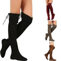 New Womens Vegan Suede Slouchy Back Strappy Lace Up Over The Knee Flat Boots Zip