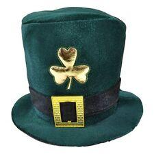 Green Adults Velvet Irish Hat - Fancy Dress St Patricks Day Ireland Leprechaun