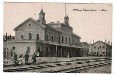 JUDAICA JEWISH POSTCARD TURKISH PALESTINE HAIFA RAILWAY STATION