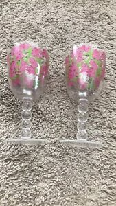 Lilly Pulitzer Flamingo Plastic Acrylic wine glass set