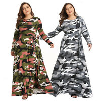 Women's Plus Size Camouflage Printed Long Sleeve Maxi Dress Evening Party Dress