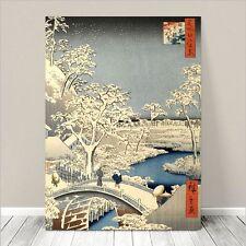"Beautiful Japanese Art ~ CANVAS PRINT 24x18""  Hiroshige Meguro Drum Bridge Light"