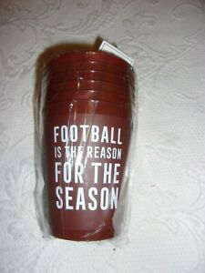 FOOTBALL IS THE REASON FOR THE SEASON 16 OZ. NEW SEALED PLASTIC CUPS SET OF 6