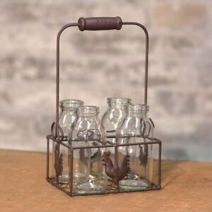 Wire Rooster Carrier with 4 bottles Country Primitive Farmhouse style