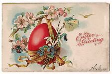 Bright Red Easter Egg Flowers Bee Butterfly Vintage Postcard Db Embossed