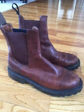 JCrew Chelsea Saddle Brown Leather Ankle Boots Rubber Soles 6.5 D