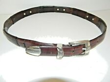 Western dress accessories tapered BROWN LEATHER BELT 36 Inch Silver Conchos