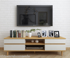 Watton 4 Drawer TV Entertainment Cabinet Unit, White & Beech finish, 150cm wide