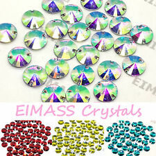 Round Rivoli Shape EIMASS® Sew on Resin Crystals, Flat Back Gems for Costumes