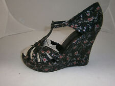 WET SEAL WOMENS SIZE 9 HIGH WEDGE PLATFORM BLACK SHOES PINK FLOWERS SILVER