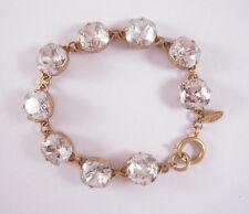 Catherine Popesco 14k Gold Plated Large Shade Swarovski Crystals Link Bracelet